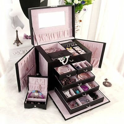 Luxurious Large Black Leather Jewelry Box Travel Case Storage with Mirror & Lock