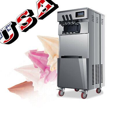 Floor Stand Commercial Soft Ice Cream Machine Three Flavor Frozen Yogurt Machine