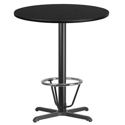 36 Round Black Laminate Table Top W 30 X 30 Bar Ht Base Foot Ring