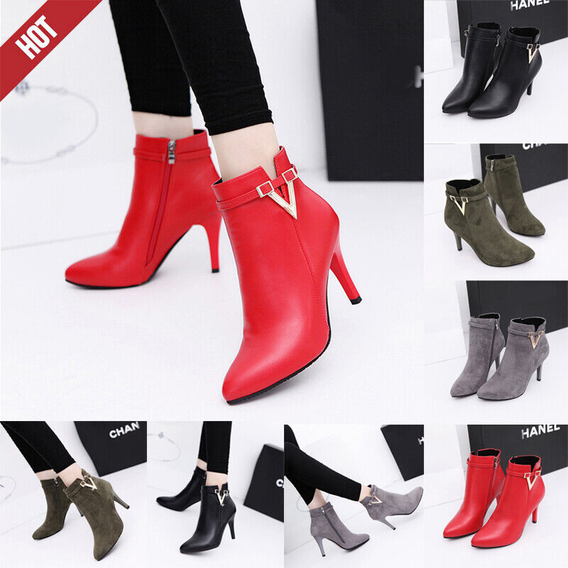 Womens Sexy Ankle Boots Ladies Leather Shoes High Heels Zipp