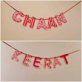 Personalised Embroidered Fabric Name Banner/Bunting