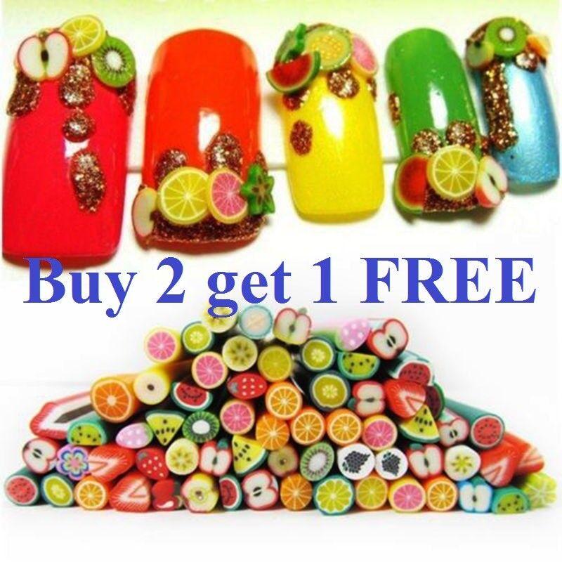 50 sticks 3D Nail Art Fimo Canes Stick Rods Polymer Clay  Decoration DIY w glue Health & Beauty