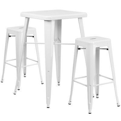 23.75 Industrial Restaurant Table Set In White Metal Wbar Table 2 Stools