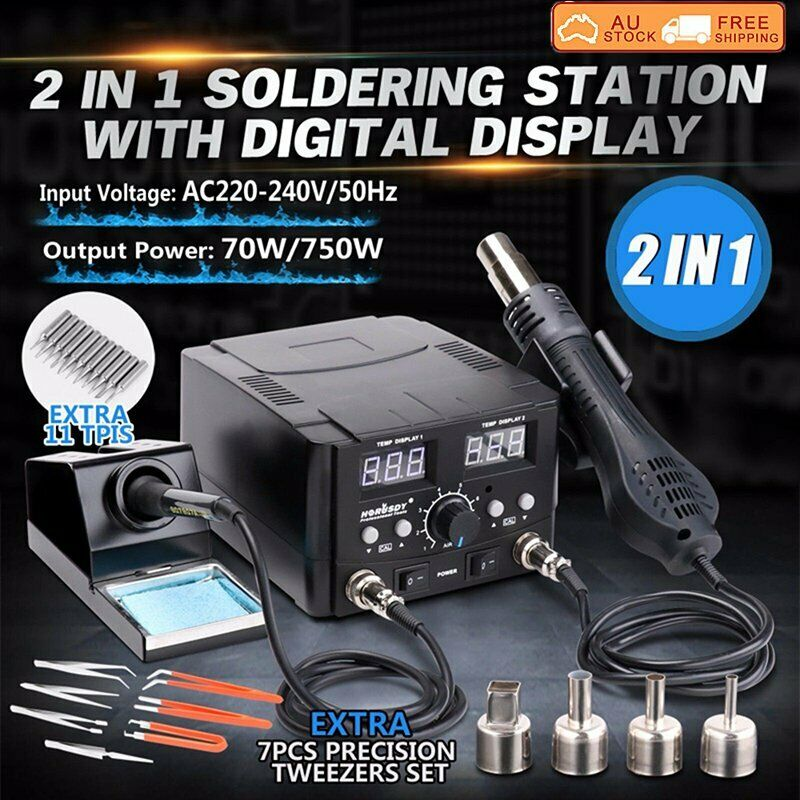 2in1 Soldering Desoldering Rework Station Soldering Iron Hot Air Gun SMD Welding