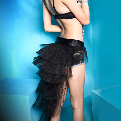 Black Tutu Womens (Women Half Bustle Tulle Tutu Skirt Burlesque Petticoat Clubwear Rave Party)