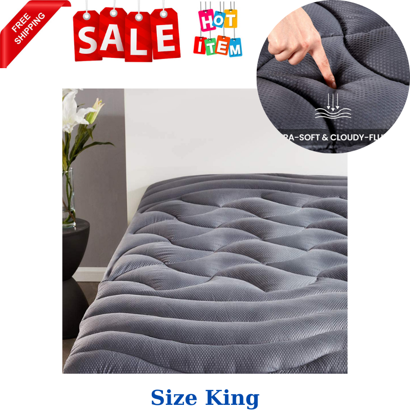 King Size Mattress Pad Cover Memory Foam Pillow Top Cooling Overfilled Topper - $57.14