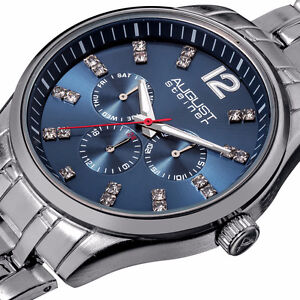 NEW August Steiner Men's AS8068BU Crystal Blue Dial Chronograph