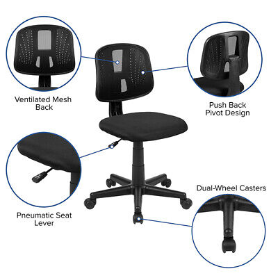 Armless Mesh Back Swivel Home Office Desk Task Computer Bedroom Chair 3 Colors