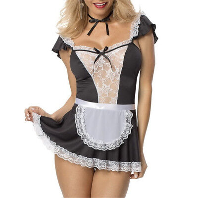 YUMMY BEE FRENCH MAID FANCY DRESS COSTUME OUTFIT WAITRESS HEN ROCKY LADIES GIRLS (French Maids Outfit)
