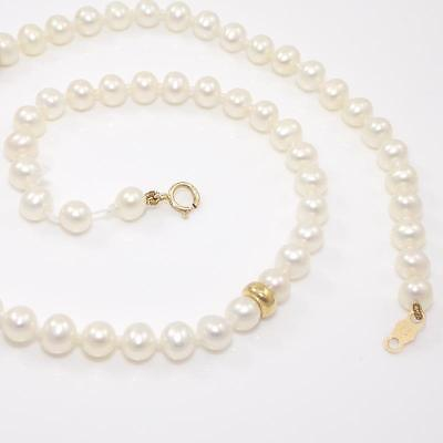 """14K Yellow Gold Pearl Strand String Necklace 13.5"""" QX"""