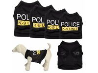 Dog Cat Vest Police Puppy T-Shirt Coat Pet Clothes Summer Apparel Costumes S