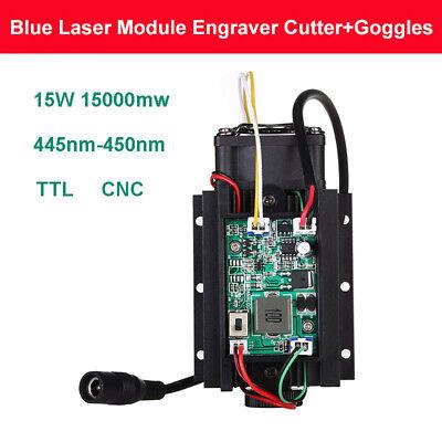 15w 450nm Diy Powerful 15000mw Blue Laser Module 12v Cnc Fan With Free Goggles