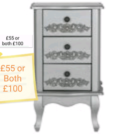 Silver Sophie Bed Side Drawer units £65 each or both £120. All Kinds F
