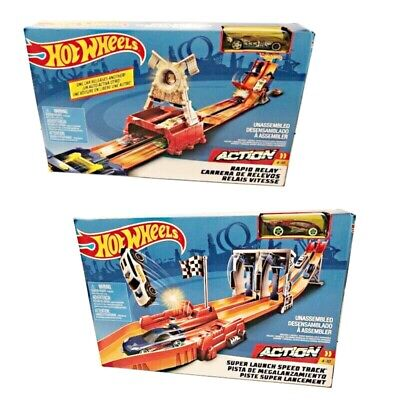 Mattel Hot Wheels City Action Race Track Launch Speed - Rapid Relay - Start Jump