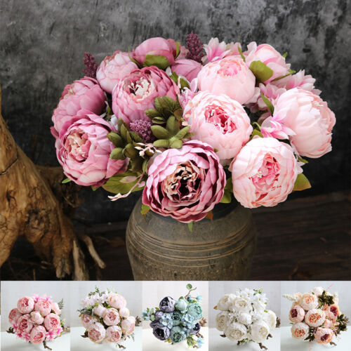 Home Decoration - 13 Heads Silk Peony Artificial Fake Flowers Wedding Bouquet Home Party Decor