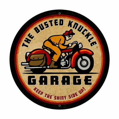 "THE BUSTED KNUCKLE GARAGE BIKE RIDER 28"" ROUND HEAVY DUTY USA MADE METAL AD SIGN"