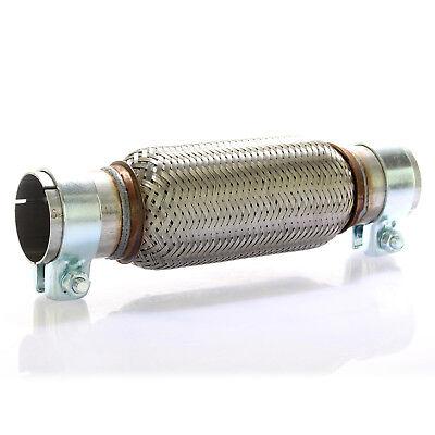 Edelstahl Flexrohr (Edelstahl Flexrohr Auspuff 60 x 200 mm + 2 Schellen Flexstück Set ohne Schweißen)