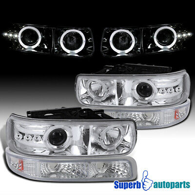 For 1999-2002 Chevy Silverado Dual LED Halo Headlights+Bumper Lamps Tahoe Pair