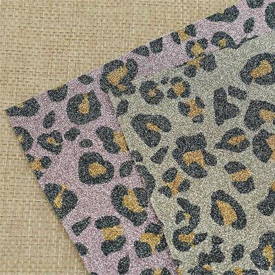 Farbig Nähen Dekostoff PET DIY Rosa Glizend A4 Leopard Muster Stoff Neu (Rosa Leopard Kind Kostüm)