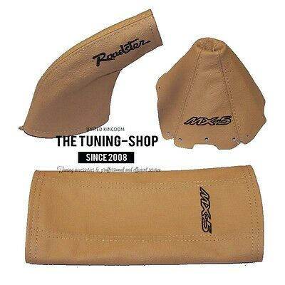 2 x Seat Belt Covers Pads Black Leather Miata Tan Embroidery for Mazda