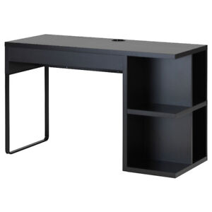 Black desk IKEA Micke with integrated storage - good condition