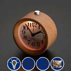 Small Round Silent Table Snooze Beech Wood Alarm Clock Night Light Decor