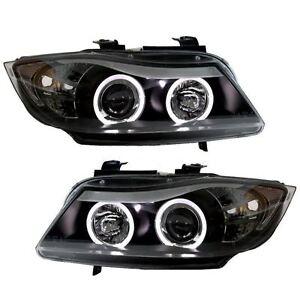 BMW E90/E91 05-08 3 SERIES BLACK ANGEL EYE HALO PROJECTOR HEAD LIGHTS LAMPS PAIR