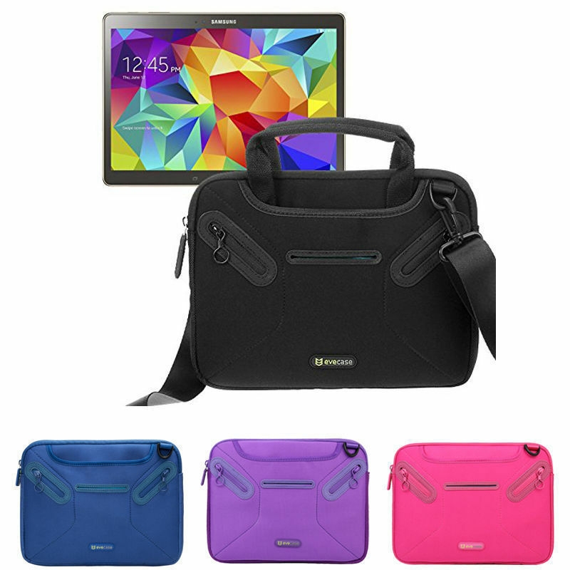 Galaxy Tab A 10.1 USA GEAR Compact Tablet Messenger Bag Compatible with Lenovo Smart Tab 10.1 Padded Adjustable Interior Dividers Galaxy Tab S5e 10.5 Durable Exterior Black Shoulder Strap