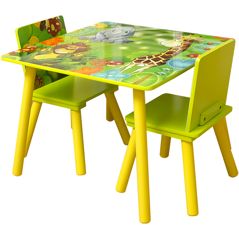 Kids Table and 2 Chairs For Toddler Baby Gift Desk Furniture Cartoon Sniper A+