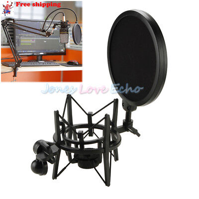 New Black Plastic Microphone Shock Mount Stand Holder with Integrated Pop Filter