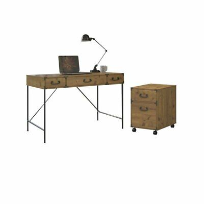 2 Piece Office Set with Desk and Filing Cabinet in Golden Pine ()