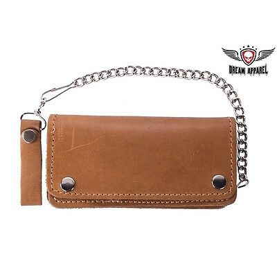 Premium Quality Tan Leather Bifold Motorcycle Chain Wallet - free shipping