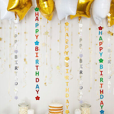 Glitter Paper Happy Birthday Hanging Bunting Banner Flags Party Shining Decor ()