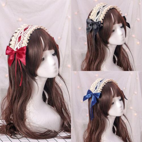 Vintage Sweet Lolita Lace Ribbon Headwear Anime Maid Headban