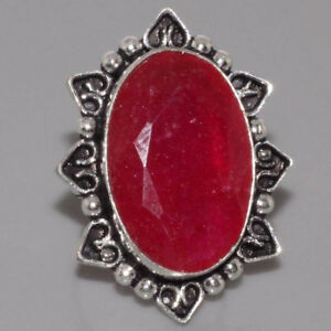 ANTIQUE STYLE Ruby & 925 Silver Overlay Ring US 7 Jewelry