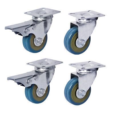 4 X Heavy Duty 50mm Rubber Swivel Castor Wheels Furniture Trolley Caster Brake