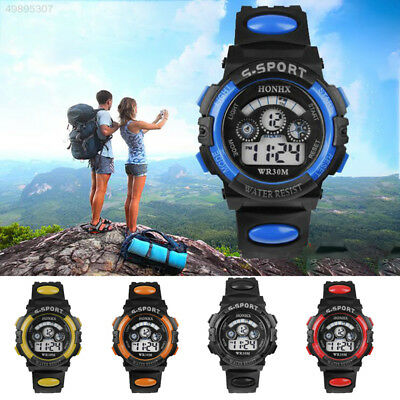 Adult LED Digital Outdoor Sports Watches Kids Boys Girls Waterproof Rubber