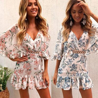 Damen Mode Blumen Strandkleid Rüschen Reißverschluss Party Tunika Sommerkleid Rüschen Reißverschluss