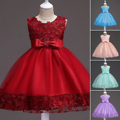 Flower Girl Kid Princess Dress Lace up Formal Birthday Party Pageant  Bridesmaid