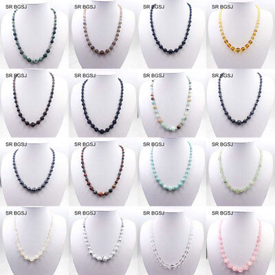 Handmade Natural 4-12mm Graduated Gemstone Beads Adjustable Jewelry Necklace