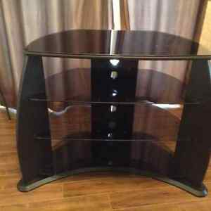TV stand , black with 3 glass shelves