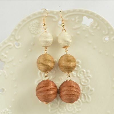 Tan & Brown String Triple Ball Tassel Long Earrings