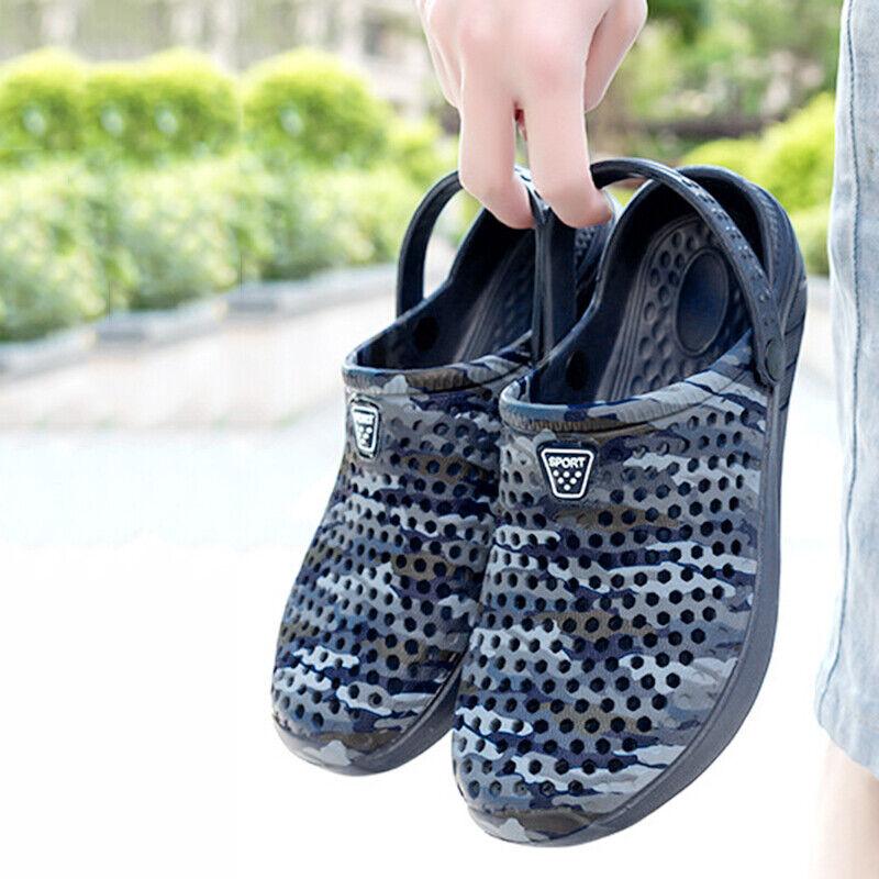 Men's Shoes Beach Summer Breathable Mules Shoes Comfy Clogs Rubber Flat Fashion