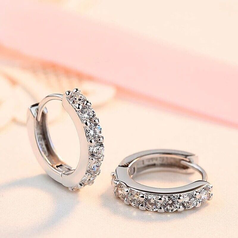 925 Sterling Silver Plated CZ Cubic Huggie Hoop Small Earrings Men Women  E21 Earrings