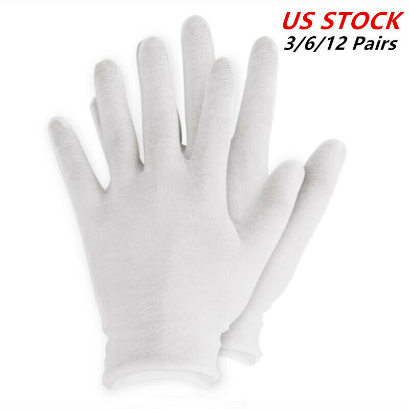 6 Pairs White Gloves Cotton Soft Thin Coin Jewelry Silver Inspection Work Glo BE