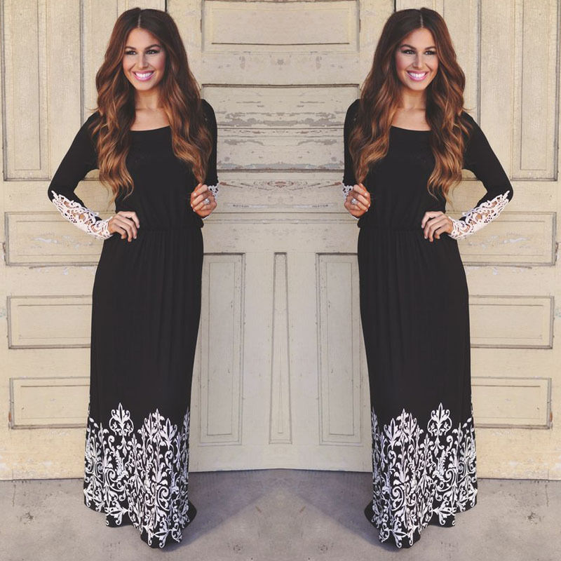 Dress - Fashion Women Lace Boho Long Sleeve Party Evening Cocktail Maxi Long Dress U.S.A
