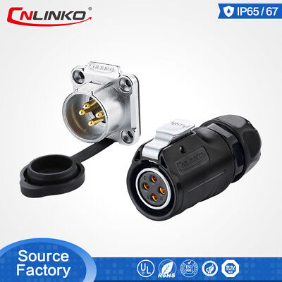 Cnlinko 4 Pin Waterproof Power Connector Dc Wire Solder Plug Panel Mount Socket