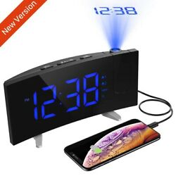 Digital Alarm Clock LCD LED Projector Projection FM Radio Snooze 5 Large Screen