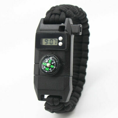 Paracord Survival Bracelet Compass Flint Fire Starter Scraper Whistle Gear Kits - Paracord Compass