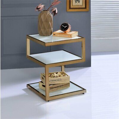 ACME Alyea End Table in Frosted Glass and Champagne